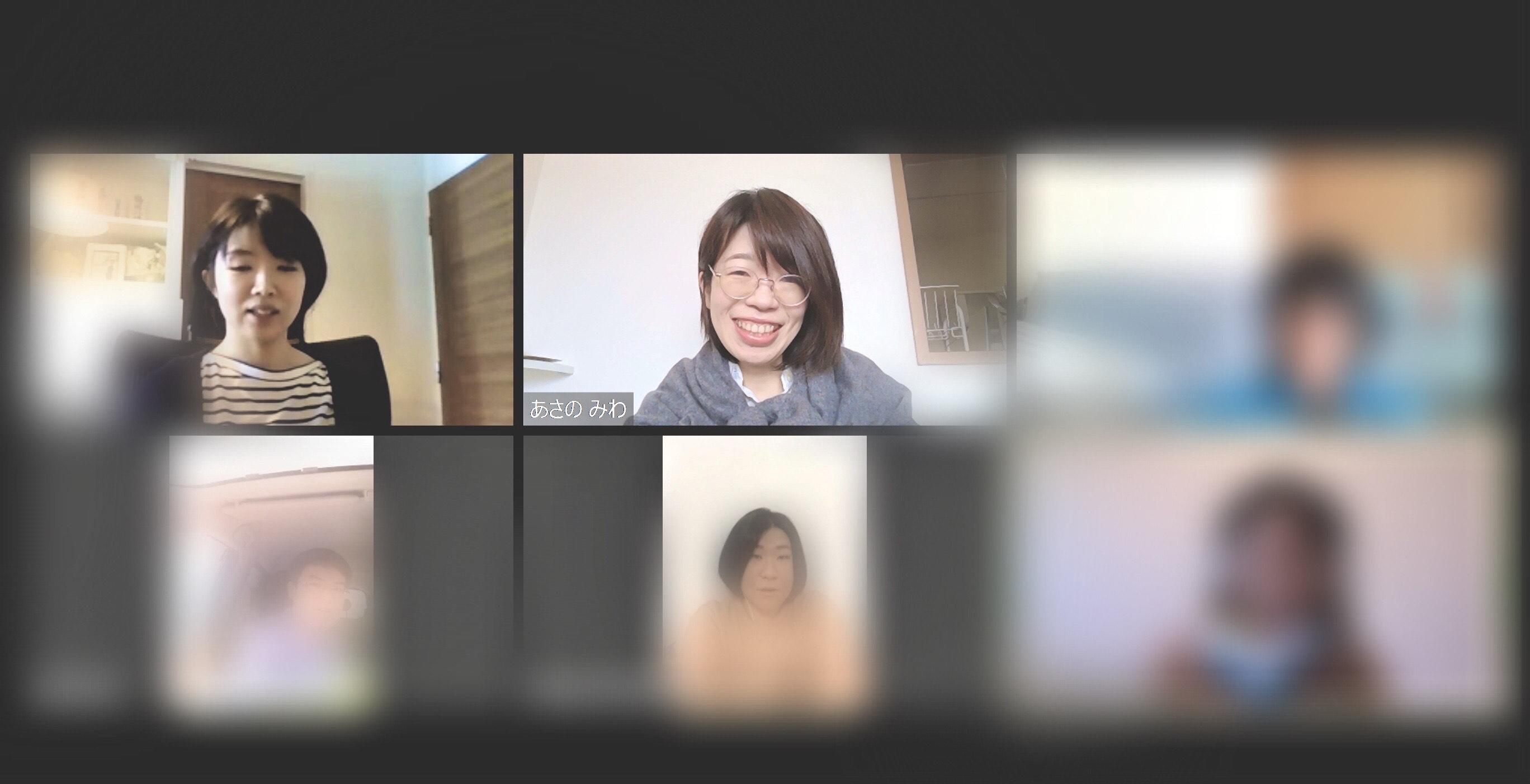 6人でビデオ通話した画面